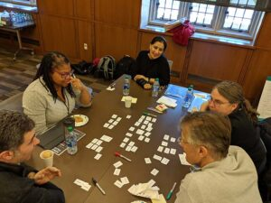 Team working on values sorting